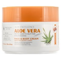 Aloe Excellence - Aloe Vera With Karite Butter Nourishing Face & Body Cream Creme 300ml Dose produziert auf Gran Canaria