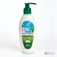 eJove - Leche Corporal Aloe Vera Baby Feuchtigkeitsmilch für Kleinkinder 200ml Pumpflasche produziert auf Gran Canaria