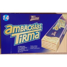 Tirma - Ambrosias Blanco white Chocolate Waffelriegel weiße Schokolade 14 Stück 301g produziert auf Gran Canaria