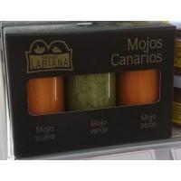Salsas Lariana - Mojos Canarios Suave, Picon, Verde 3 Gläser je 80g produziert auf Gran Canaria