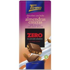 Tirma - Chocolate con Leche Almendras enteras Zero sin Azucares Nussschokolade ohne Zucker 125g produziert auf Gran Canaria