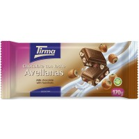 Tirma - Chocolate con Leche Avellanas Vollmilchschokolade Haselnuss 170g Tafel produziert auf Gran Canaria