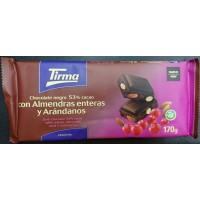Tirma - Chocolate Negro 53% Cacao con Almendras enteras y Arandanos dunkle Tafelschokolade 170g produziert auf Gran Canaria