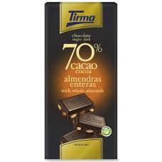 Tirma - Chocolate Negro 70% Cacao Almendras enteras Dunkle Schokolade mit Mandeln 125g produziert auf Gran Canaria