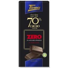 Tirma - Chocolate Negro 70% Cacao ZERO sin Azucar dunkle Schokolade zuckerfrei 75g produziert auf Gran Canaria