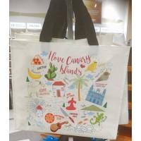 Strandtasche Einkaufstasche I Love Canary Islands Kanaren-Motive