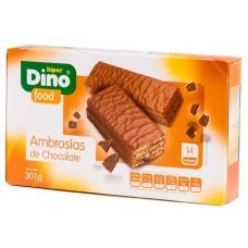 DinoFood - Ambrosias de Chocolate con Leche Schoko-Waffelriegel 14x 21,5g 301g produziert auf Gran Canaria