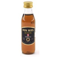 Arehucas - Ronmiel Guanche - Ron Miel - Honigrum 20% Vol.  50ml Miniaturflasche PET produziert auf Gran Canaria