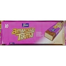 Tirma - Ambrosias Tradicional Chocolate Waffelriegel mit Schokoladenüberzug 10 Stück 215g produziert auf Gran Canaria