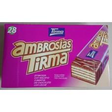 Tirma - Ambrosias Tradicional Chocolate Waffelriegel mit Schokoladenüberzug 28 Stück produziert auf Gran Canaria