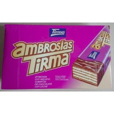 Tirma - Ambrosias Tradicional Chocolate Waffelriegel mit Schokolade 21 Stück produziert auf Gran Canaria