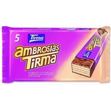 Tirma - Ambrosias Tradicional Chocolate Waffelriegel mit Schokolade 5 Stück 129g produziert auf Gran Canaria